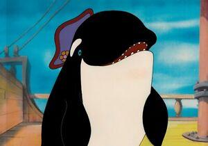 SeaWorld-Shamu-Cel-1980-039-s-Theme-park-ad-Cap-039-n-Kid-039-s-World-killer-whale-pirate