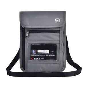 Grey-RFID-Blocking-Neck-Stash-Pouch-Passport-Holder-Security-Travel-Wallet-JA
