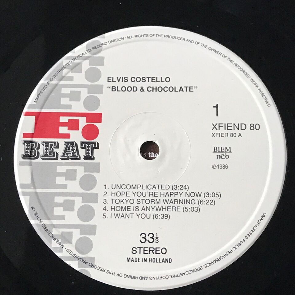 LP, Elvis Costello, Blood & Chocolate