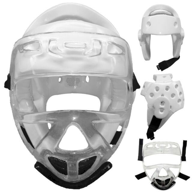 Black or white Headguard w// Face Cage Headgear Guard Sparring Shield