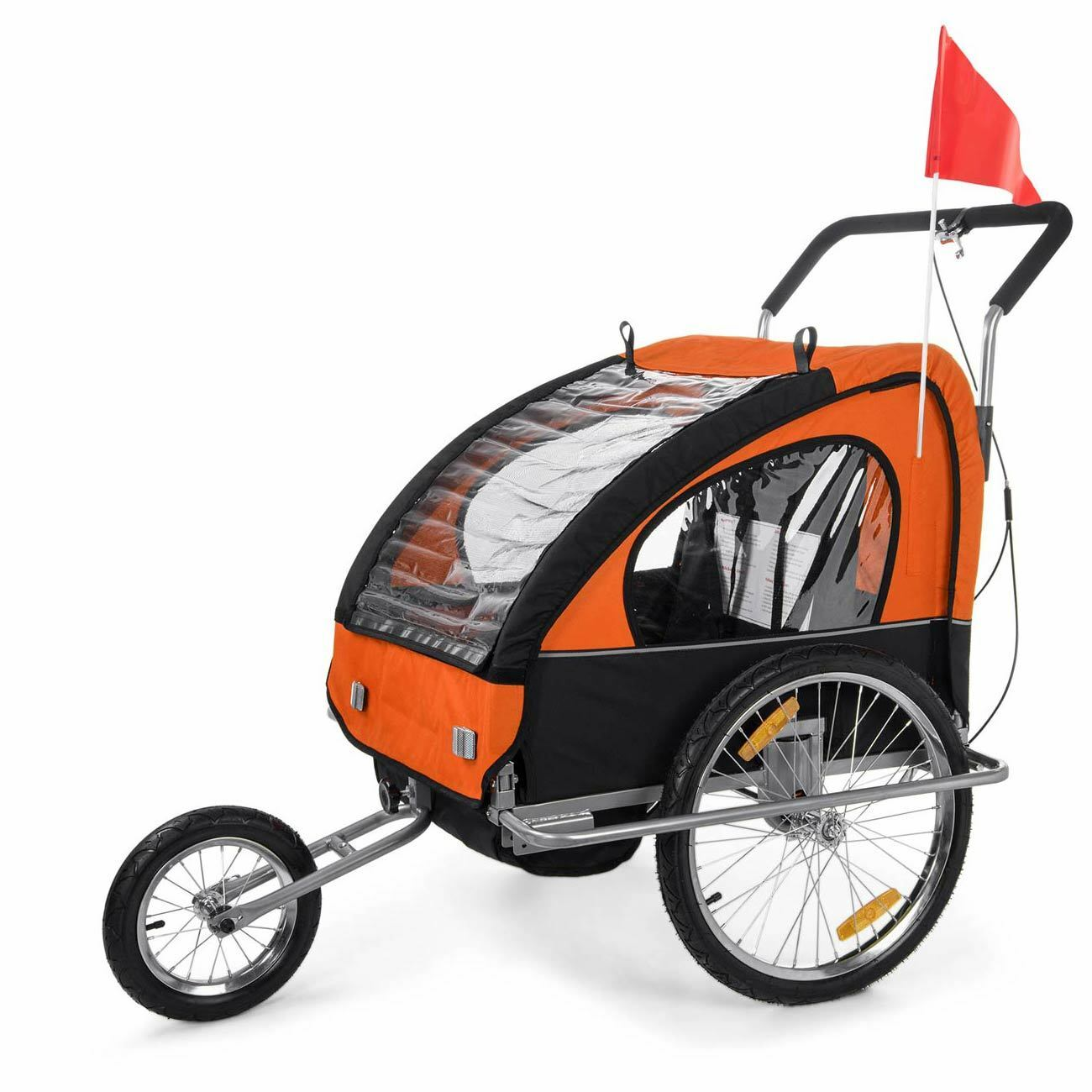 Remolque de Bicicleta para Niños Transportín Silla Cochecito Orange noir SAMAX