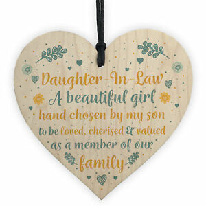 Image Is Loading Daughter In Law Gift Handmade Wooden Heart Plaque