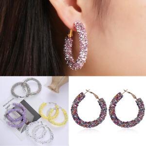 Geometric Round Crystal Pendant Rhinestone Big Circle Ear Studs Hoop Earring