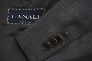 Canali Gray Plaid 100% Pure Wool Mens Sport Coat Jacket Sz 46R