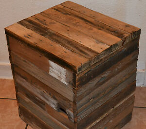 Reclaimed Barn Wood Cube Ottoman Table Modern Rustic Dorm Stoage Removable Top Ebay