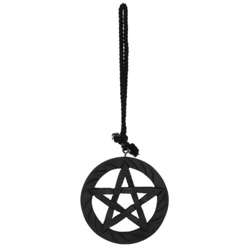 Black Wooden Hanging Pentagram Star Wall Art 15cm witch wicca magic