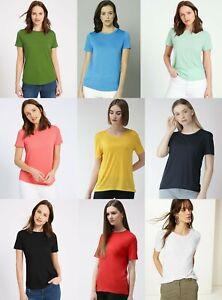 M-amp-S-De-Algodon-Manga-Corta-Cuello-Redondo-Rosa-Negro-Marina-camiseta-Prenda-para-el-torso