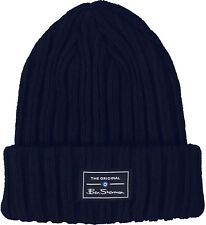 Ben Sherman Mens Solid Ribbed Knit Winter Beanie Hat Navy Blue One Size ba631fdb572