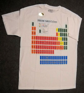 TABLE-OF-ELEMENTS-T-SHIRT-White-YOUTH-LARGE-Glows-in-Dark-NEW-IN-PACKAGE