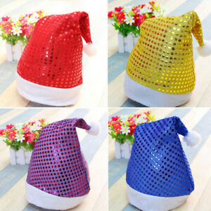 Christmas-Hat-with-Sequin-Cap-for-Santa-Claus-Costume-Xmas-Party-Decor-OrnamentS