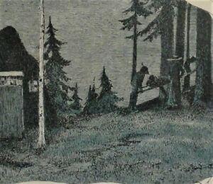 Heinrich-VOGELER-1872-1942-Worpswede-Fischer-amp-Broeckelmann-Grafik-WALDSZENE