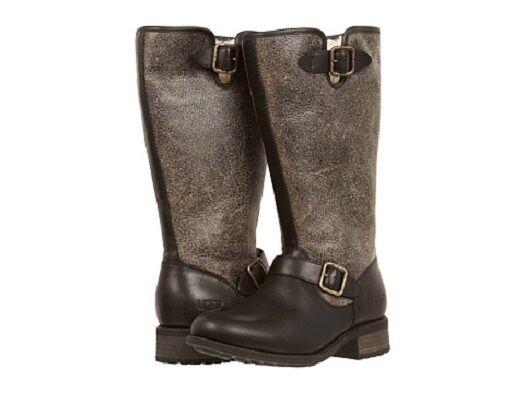 5402a280bb0 UGG Australia Chancery Black Bomber Leather Sheepskin BOOTS Size 7 US