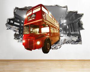 H215-Londres-clasico-rojo-autobus-Smas-pegatina-pared-vinilo-3d-habitacion-ninos