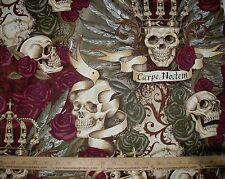 Cotton Fabric Alexander Henry Royal Carpe Noctem Seize the Night Skull Vintage