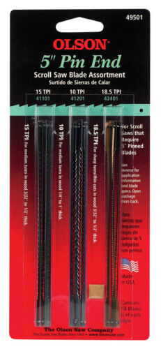 Olson  5 in Carbon Steel  Scroll Saw Blade Set  18.5 TPI 18 pk