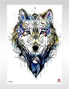 Non Permanent Tattoos Animal Wolf Large 8 25 Tattoo Ebay