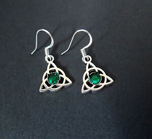CELTIC-Triquetra-Trinity-Silver-Medieval-RENAISSANCE-Irish-EARRINGS-Stones-NEW