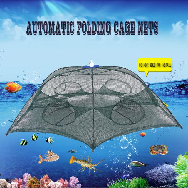 6 Hole Folded Fish Net Portable Automatic Fishing Shrimp Trap Fishing Net NI