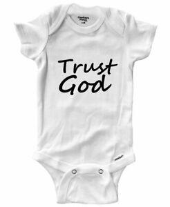 Baby Infant Bodysuit Outfit Gift Print Trust God Positive Trust