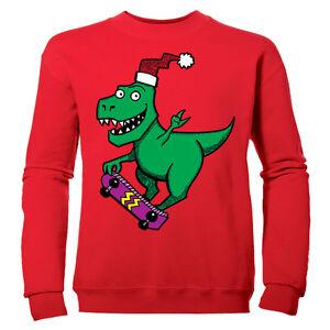 skateboard-Navidad-Dinosaurio-nina-Festivo-Navidad-infantil-Jersey-Sudadera