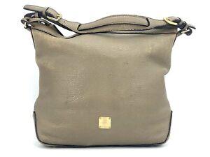 Details zu MCM Leder Schultertasche Hellbraun Khaki Gold Shopper Bag Tasche Handtasche