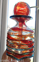 VINTAGE  MDINA LARGE HEXAGONAL  SIDED   ART GLASS  DECANTER  VASE  SIGNED
