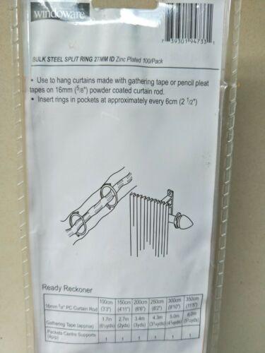 100 pack 200 rings 2 x New Windoware 27mm Steel Split rings Drapery Accessory