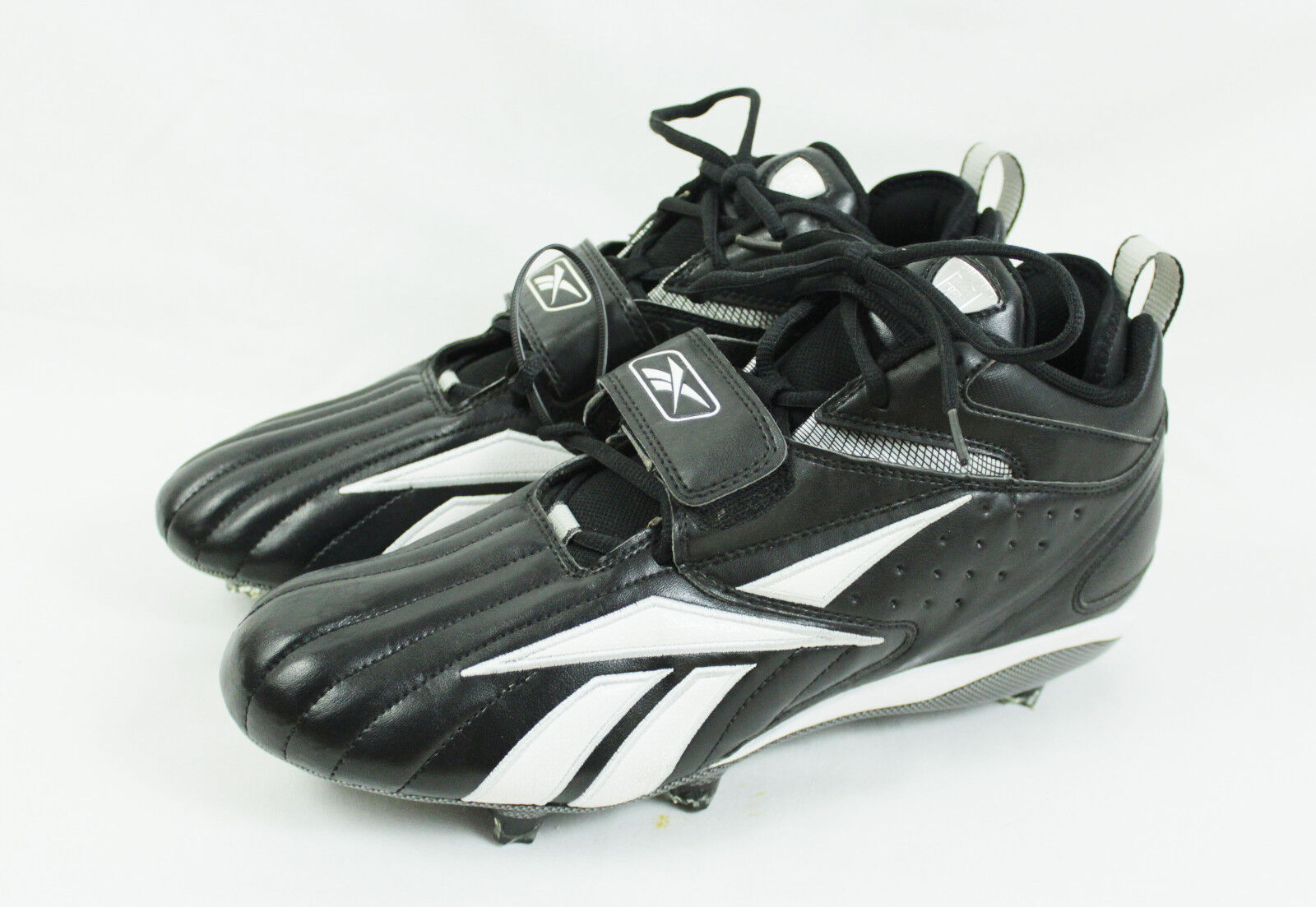 b07452439147 Mens Black White Reebok NFL Equipment Play Dry Football Cleats Size ...
