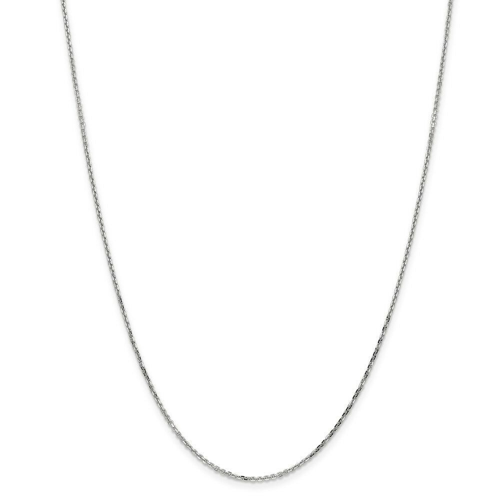 14kt White gold 1.40mm D C Cable Chain; 24 inch