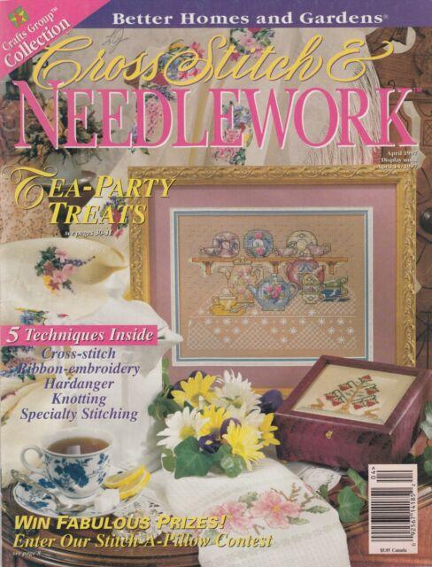 Cross Stitch & Needlework magazine April 1997 - teapots, samplers, florals