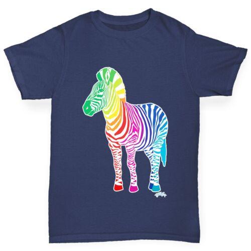 Twisted Envy Boy/'s Rainbow Zebra Printed Cotton T-Shirt