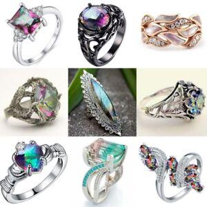 Vintage-Mystic-Rainbow-Topaz-925-Silver-Ring-Women-Wedding-BridalJewelry-Sz-5-11
