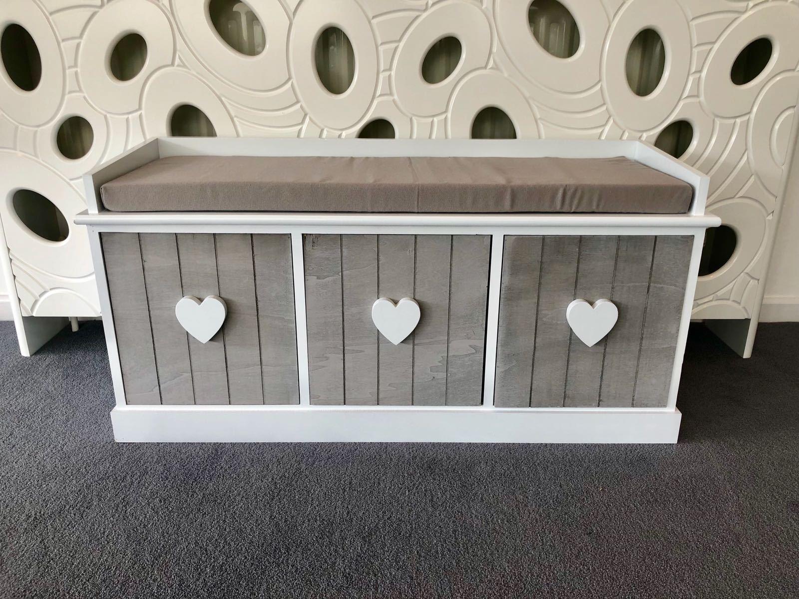 grau Weiß Vintage 3 Seater Hallway Bedroom Storage Bench Cushion 3 Drawers Wood