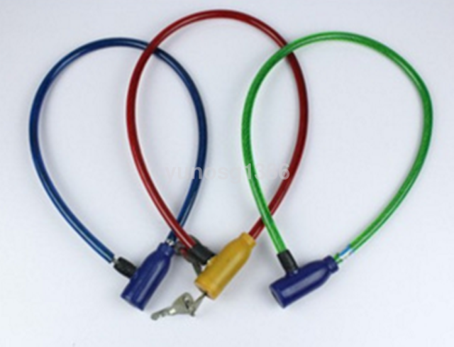 Cycling 8x640mm Cable Anti-Theft Bike Bicycle Scooter Safety Lock With 2 Keys
