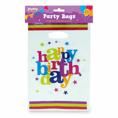 20 Party Bags Childrens Happy Birthday Plastic Loot Gift Bag Boys Girls Filler