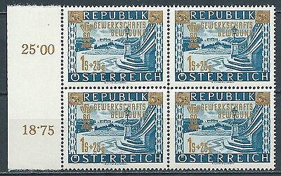 Austria Europe Ab11.3-4 Painstaking 1953 Austria Sindacalismo Operaio Quartina Mnh **