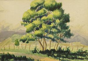 """"""" Dans Feuchtwald Paysage """" Aqua. Signer Dat. M.hunsinger 1.5.1944"""