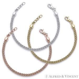 Solid-925-Italy-Sterling-Silver-4-5mm-Popcorn-Link-Ladies-Italian-Chain-Bracelet