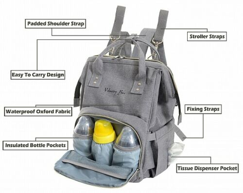 Velocity Bee Nappy Changing Backpack Bag with Changing Mat Grey for Mom /& Dads