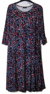 New-M-amp-Co-Rose-Print-Side-Pocket-Ditsy-Jersey-Dress-Uk-Size-8-22