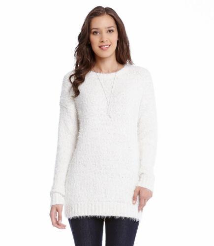 Karen Kane 4L89646 Cream Fuzzy Boucle Drop Shoulder Crew Neck Sweater $98