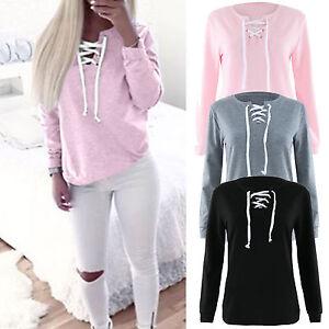 Women-039-s-Long-Sleeve-Hoodie-Pullover-Sweatshirt-Jumper-Sweater-Casual-Hooded-Tops