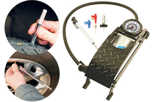 Laser Car Tyre Safety Kit Foot Pump Tyre Depth /& Pressure Gauge 5631 CLEARANCE