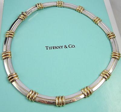 ec169a1e18cbd Tiffany & Co Vintage Sterling Silver & 18k Yellow Gold ATLAS Bar Link  Necklace | eBay