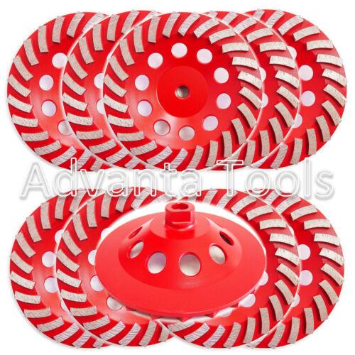 "10PK 7 Turbo Diamond Grinding Cup Wheel for Concrete 24 Segs - 5/8""-11 Threads"