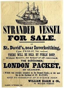 1851-Broadside-STRANDED-SHIP-FOR-SALE-Historic-Dalgety-Bay-Fife-SCOTLAND