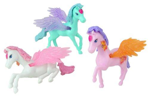 3 Pink Pastel Fairy Unicorn Pony Wing Figure Set Kids Girl Party Bag Filler Toys