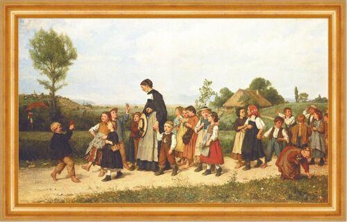 Der Schulspaziergang Albert Anker 1872 Schweizer Maler Kinder Bütten H A3 0597