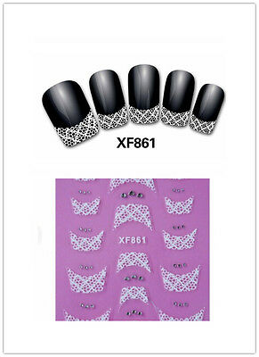 3D Transfer Lace Design Nail Art Stickers Manicure Nail Care Polish Decals Tips