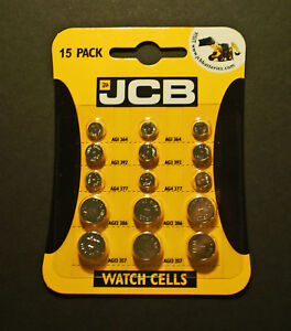 15-JCB-Watch-Batteries-Button-Cell-Pack-contains-3-of-each-AG1-AG3-AG4-AG12-AG13